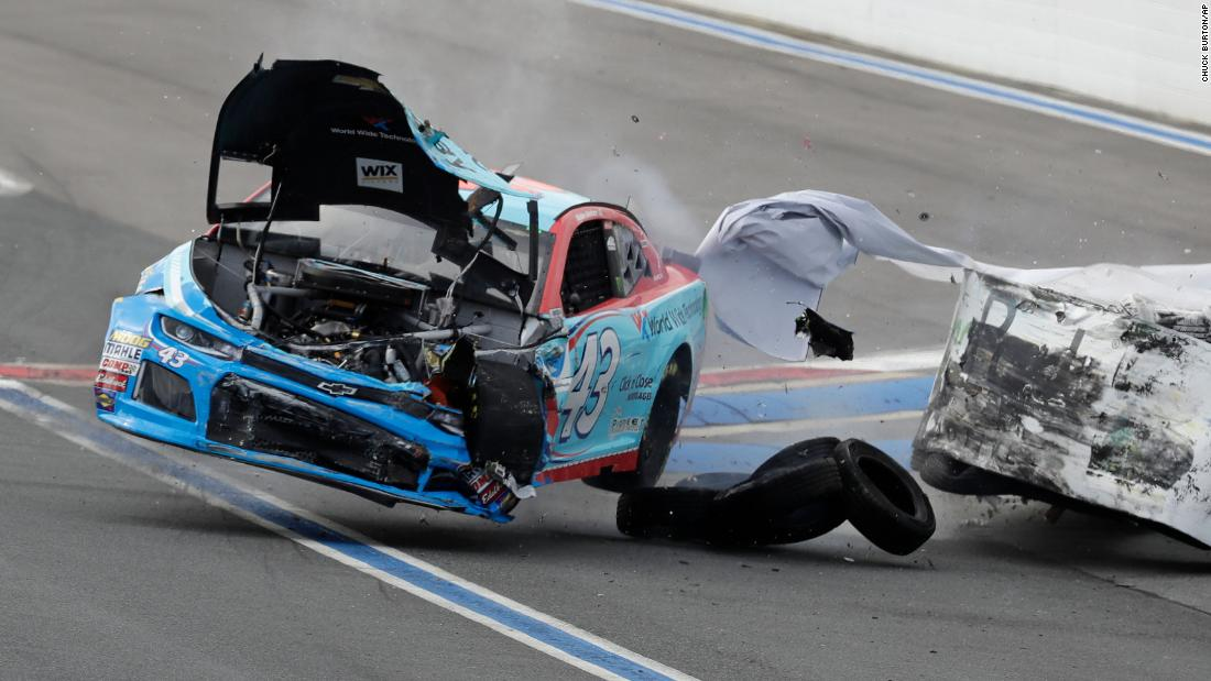 "Darrell ""Bubba"" Wallace crashes in turn 12 during practice for Sunday's NASCAR race in Concord, North Carolina, on Saturday, September 29. Wallace escaped the crash unharmed."