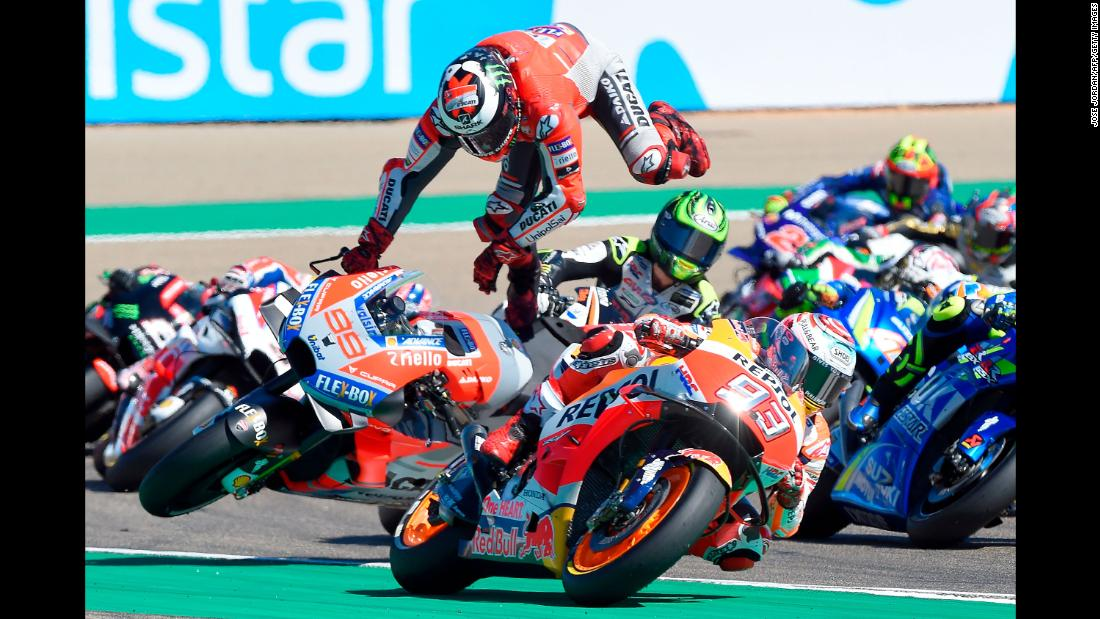 Jorge Lorenzo of the Ducati team falls from his bike during the Aragon motorcycle Grand Prix in Alcaniz, Spain, on Sunday, September 23.