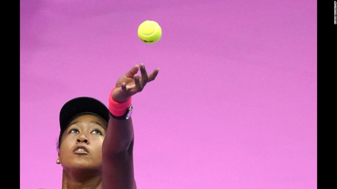 Naomi Osaka of Japan serves a ball against Karolina Pliskova of the Czech Republic during the final match of the Pan Pacific Open women's tennis tournament in Tokyo on Sunday, September 23.