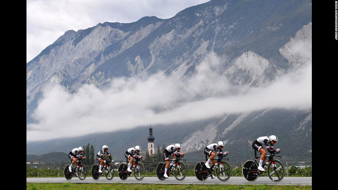 "Cyclists race through Innsbruck, Austria, in the UCI team time trial on Sunday, September 23. <a href=""https://www.cnn.com/2018/09/23/sport/gallery/what-a-shot-sports-0923/index.html"" target=""_blank"">See 27 amazing sports photos from last week</a>."