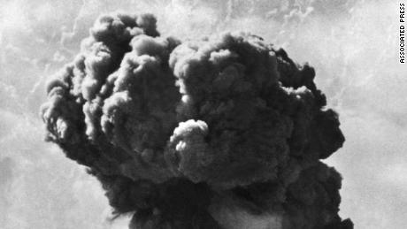 A dustcloud rises from a British nuclear bomb test on Sept. 14, 1952 in Maralinga, Australia.