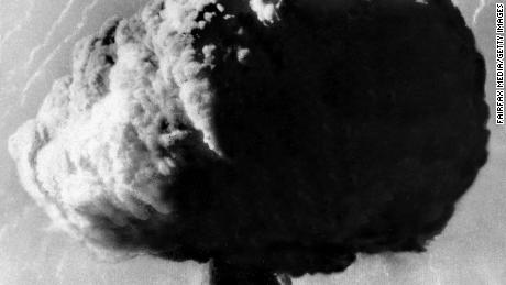 A mushroom cloud rises over the British atomic testing range at Maralinga in South Australia in 1956. The UK was barred from cooperating with the Americans on nuclear weaponry for years following 1946.