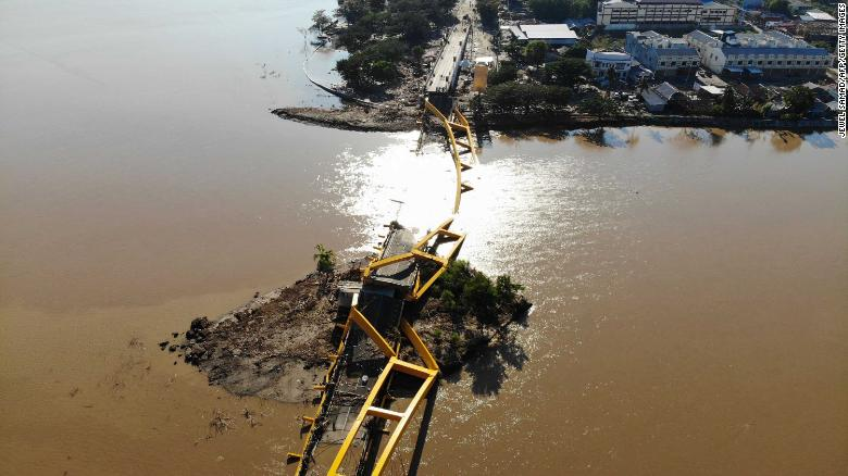 A collapsed bridge in Palu, the provincial capital of Sulawesi.