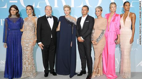 Prince Albert II and Princess Charlene of Monaco pose with models, singer Katy Perry and Orlando Bloom, winner of the 2017 gala's environmental award.