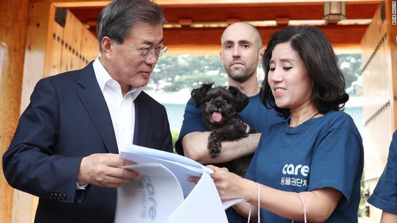"South Korean President Moon Jae-in goes over paperwork to adopt a new ""first dog,"" Tory, from Care Korea in July 2017."