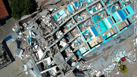 The remains of the Roa Roa Hotel are seen from above Sunday.