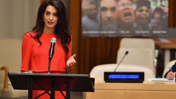 Amal Clooney participates in the Press Behind Bars: Undermining Justice and Democracy event during the 73rd session of the United Nations General Assembly at the United Nations in New York on September 28, 2018. (Photo by Angela Weiss / AFP)        (Photo credit should read ANGELA WEISS/AFP/Getty Images)