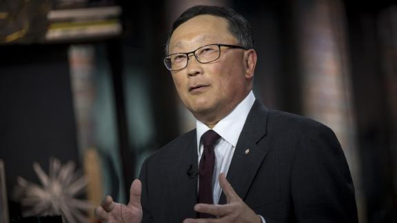John Chen, chief executive officer of BlackBerry Ltd., speaks during a Bloomberg Technology television interview in San Francisco, California, U.S., on Thursday, May 10, 2018. Chen discussed the company
