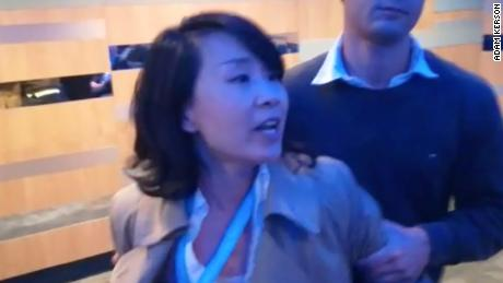Kong Linlin was removed from a Hong Kong event at the UK Conservative Conference in September after allegedly assaulting a volunteer and loudly protesting a speaker.