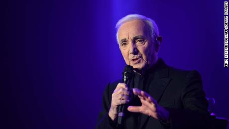 French singer Charles Aznavour performing in Paris in 2017.