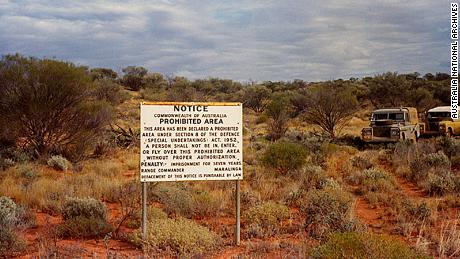 A prohibited area sign seen near the Maralinga nuclear test site in 1974.