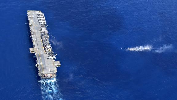 The amphibious assault ship USS Wasp performs maneuvers on Thursday, September 27.
