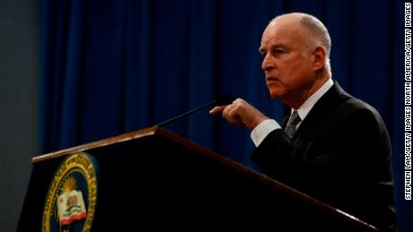 California Governor Jerry Brown, seen here at March news conference, issued a series of Christmas Eve pardons and commutations on Monday.