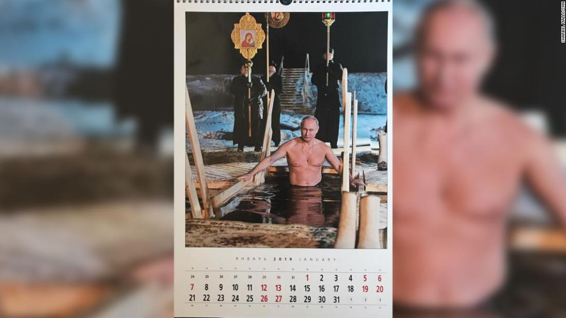 What calendar devoted to Vladimir Putin would be complete without a shirtless entry? Here's one January image.
