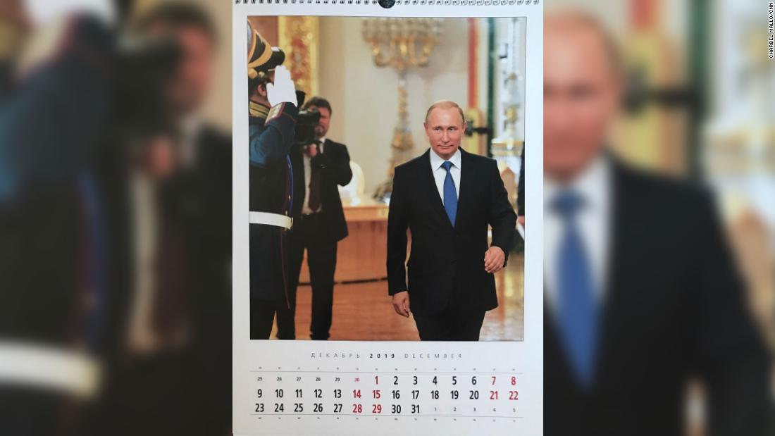 December's image shows Putin enjoying the trappings of power.