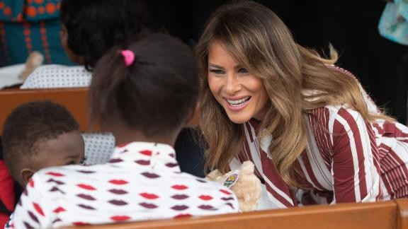 US First Lady Melania Trump greets patients during a visit to the Greater Accra Regional Hospital in Accra, Ghana, on October 2, 2018, as she begins her week-long trip to Africa to promote her 'Be Best' campaign. (Photo by SAUL LOEB / AFP)        (Photo credit should read SAUL LOEB/AFP/Getty Images)