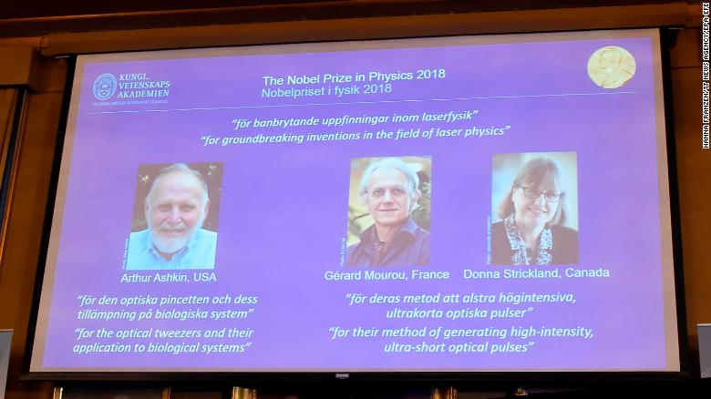 The Nobel laureates in Physics are announced at the Royal Swedish Academy of Sciences in Stockholm, Sweden.
