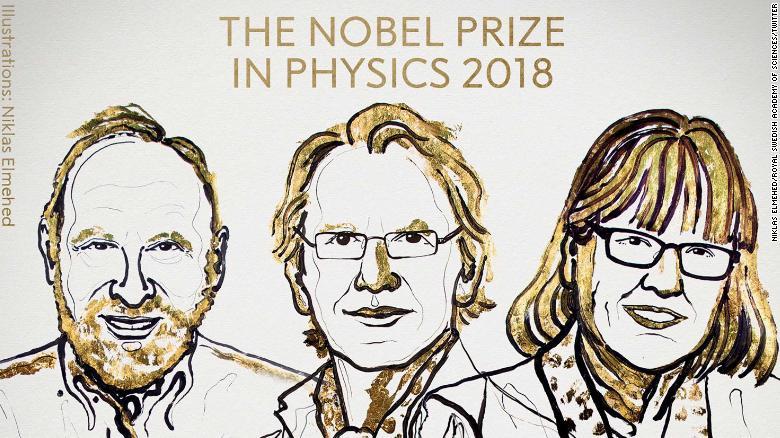 Una ilustración de los ganadores del Premio Nobel de Física 2018.