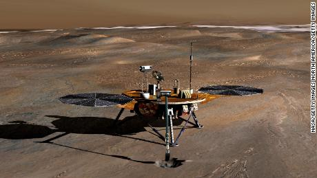 A NASA  illustration of the Phoenix Mars Lander on the Red Planet.