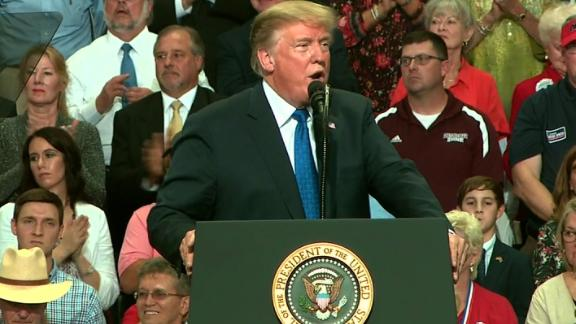 President Trump speaking at rally in Southaven,Mississippi.