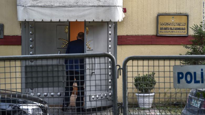 A man enters the Saudi Consulate in Istanbul on Wednesday.