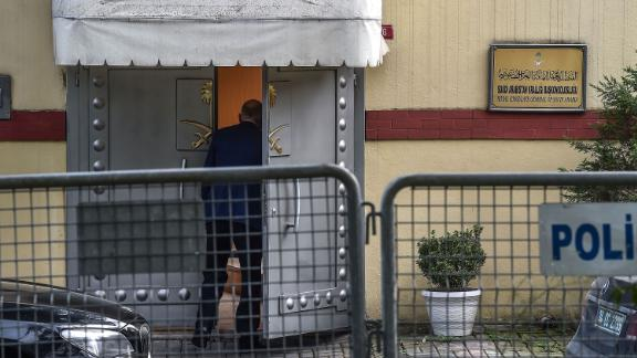 A man enters the Saudi Arabia's consulate in Istanbul on Wednesday.