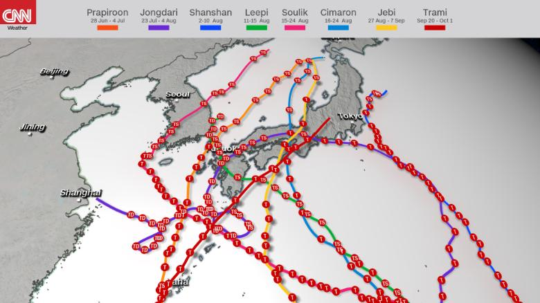 Eight named storms have already had a direct impact on Japan in 2018.