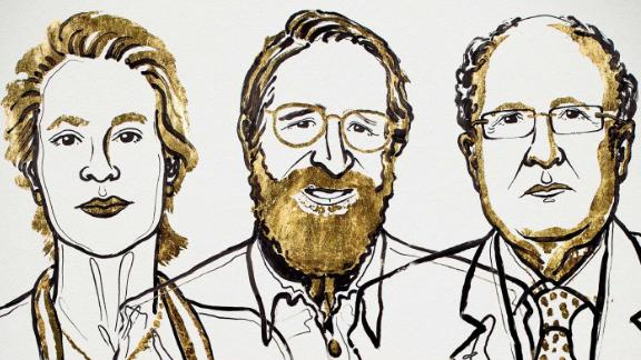 An illustration of the 2018 Nobel Prize in Chemistry laureates.