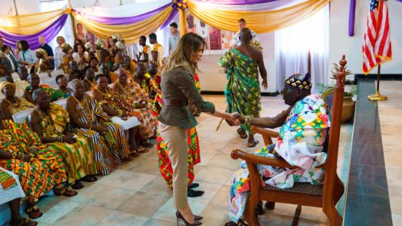 First lady Melania Trump shakes hands with Osabarimba Kwesi Atta II, the chieftain of the Cape Coast Fante, during a cultural ceremony at the Emintsimadze Palace in Cape Coast, Ghana, Wednesday, Oct. 3, 2018.  (AP Photo/Carolyn Kaster)