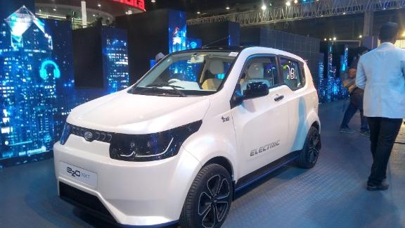Photo taken on Feb. 7, 2018 shows an electric car exhibited by Indian automaker Mahindra & Mahindra Ltd. in Greater Noida, India. (Kyodo) ==Kyodo (Photo by Kyodo News via Getty Images)
