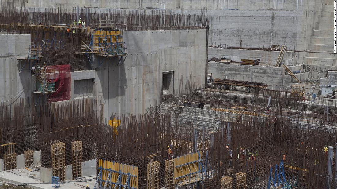 The Grand Ethiopian Renaissance Dam under construction in 2015.