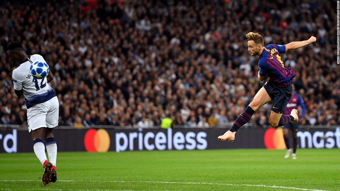 Ivan Rakitic's stunning volley was the pick of the goals in an enthralling encounter at Wembley, as Barcelona edged past Tottenham 4-2. Goals from Harry Kane and Erik Lamela weren't enough as Lionel Messi and Philippe Coutinho secured three points for the visitors.