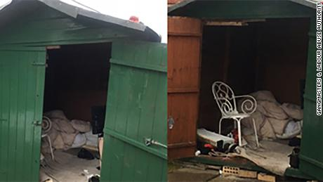 UK officials released this photo of the shed where the man is believed to have lived.
