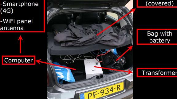 Dutch officials annotated a photo of the trunk of a car they say was used by Russian spies.
