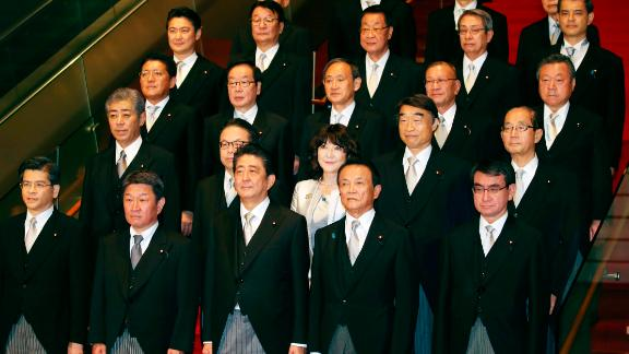 Japanese Prime Minister Shinzo Abe introduces his new cabinet. His leadership team now only includes one woman.