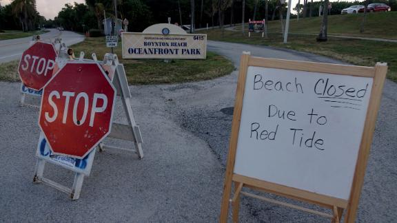 Oceanfront Park in Boynton Beach, Florida, was closed Thursday because of red tide.