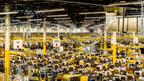 Inside an Amazon fulfillment center in Kent, Washington.