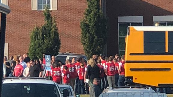 Pike County High School football players attend Dylan Thomas' funeral.