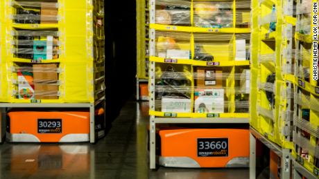 Robots are used in the Amazon fulfillment center.