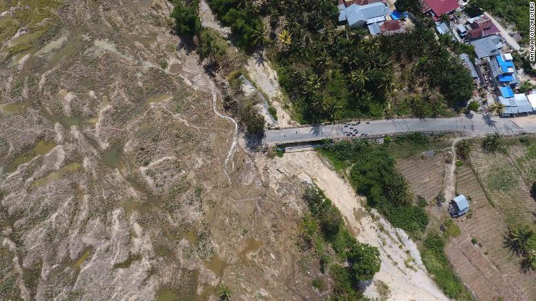 An aerial view of liquefaction in central Sulawesi, taken on October 4.