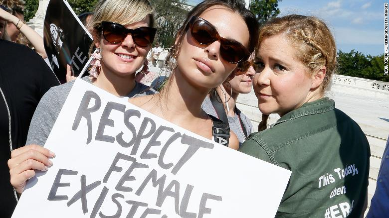 Image result for Amy Schumer and Emily Ratajkowski were arrested in Kavanaugh protests