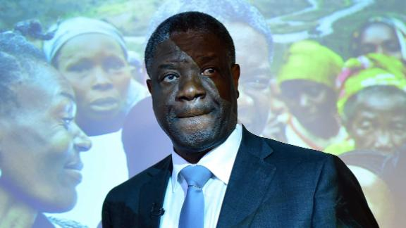 Congolese gynaecologist Denis Mukwege addresses a press conference in Brussels, March 25, 2015.