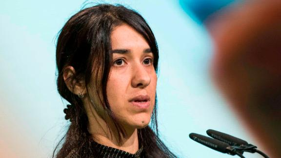 Goodwill Ambassador for the Dignity of Survivors of Human Trafficking of the United Nations Nadia Murad speaks during the federal congress of the German Green Party (Buendnis 90/Die Gruenen) at the Velodrom in Berlin, Germany on June 17, 2017. (Photo by Emmanuele Contini/NurPhoto via Getty Images)