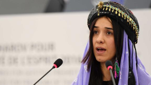 Nadia Murad delivers a speech after being named co-laureate of  the 2016 Sakharov human rights prize.