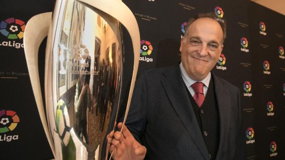 BRUSSELS, BELGIUM - NOVEMBER 28:  La Liga President Javier Tebas attends LaLiga offices inauguration at the Spanish embassy  on November 28, 2017 in Brussels, Belgium.  (Photo by Olivier Matthys/Getty Images)