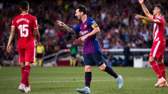 Lionel Messi celebrates after scoring for Barcelona against Girona in December. The reverse fixture is slated to be in Miami.