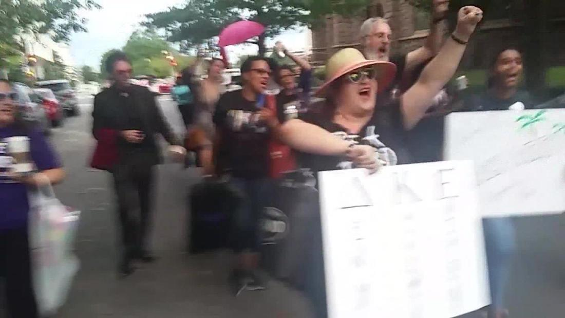 Protesters clash outside of swing vote senator offices in anticipation of Kavanaugh vote