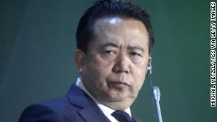 Interpol president Meng Hongwei appears at an International Cybersecurity Congress in Moscow in July.