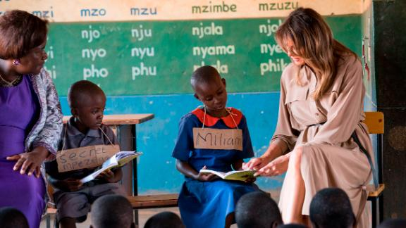 First lady Melania Trump meets with students at Chipala Primary School in Lilongwe.
