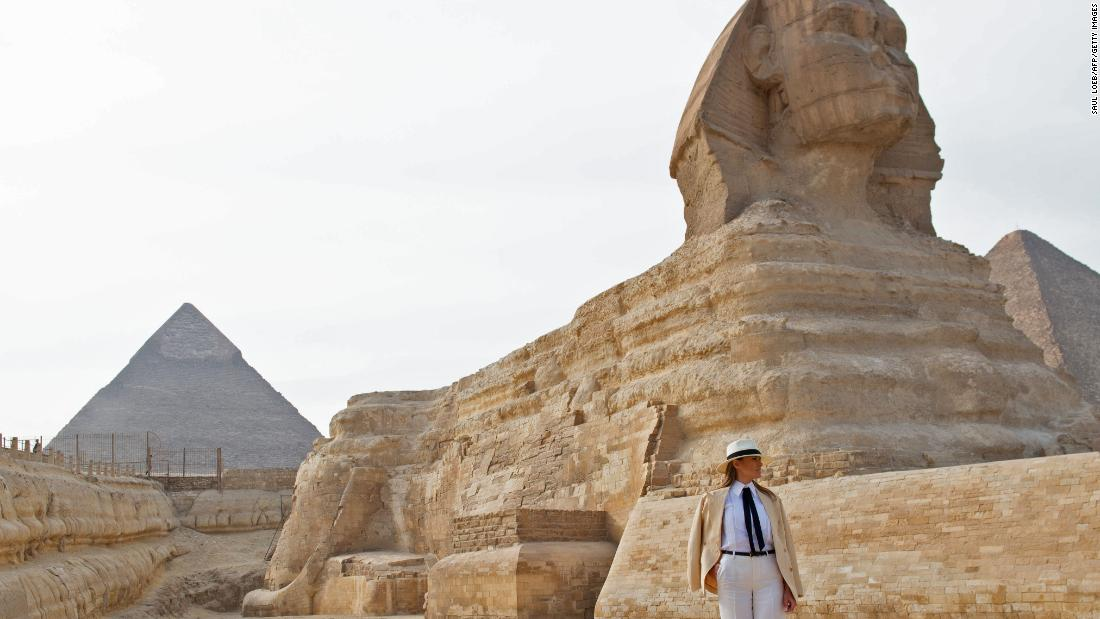 First Lady Melania Trump visits the Giza Pyramids and Sphinx on October 6.